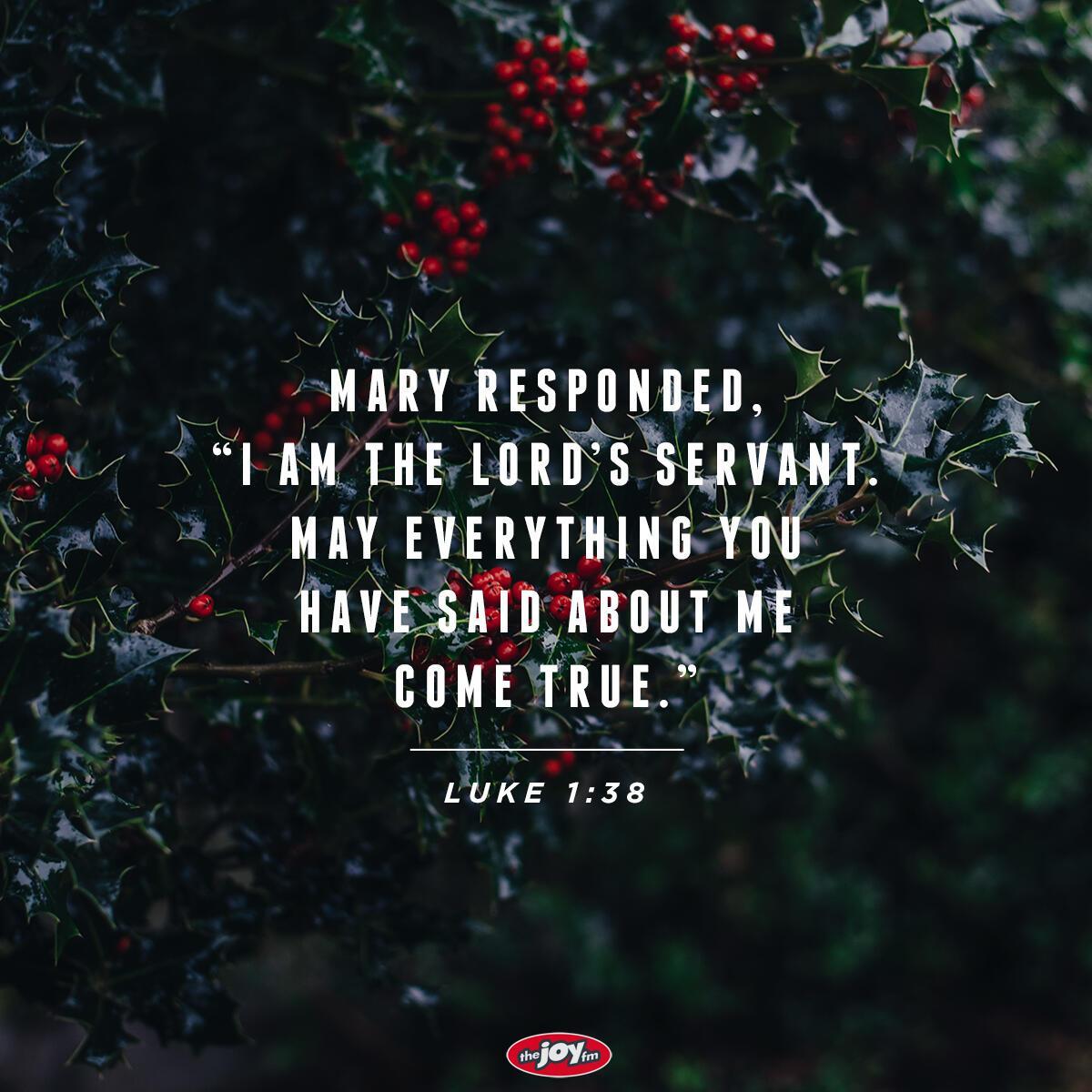 Verse of the Day - Luke 1:38 | The JOY FM